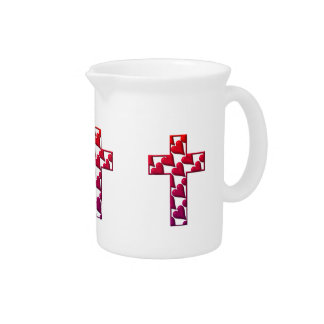 Red Cross filled with hearts Beverage Pitcher