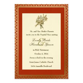 Red Cross Lilies Catholic Wedding Invitation