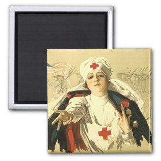 Red Cross 2 Inch Square Magnet