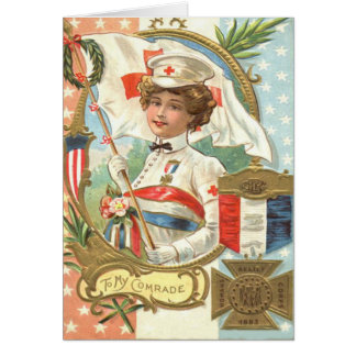 Red Cross Nurse Flowers Wreath Greeting Card