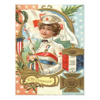 Red Cross Nurse Flowers Wreath Postcard