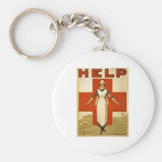 Red Cross Nurse Help Advertisement World War 2 Basic Round Button Keychain