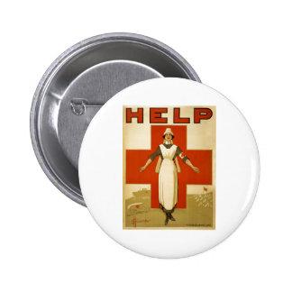 Red Cross Nurse Help Advertisement World War 2 Buttons