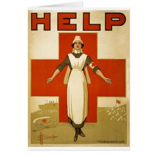 Red Cross Nurse Help Advertisement World War 2 Greeting Card