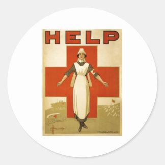 Red Cross Nurse Help Advertisement World War 2 Classic Round Sticker