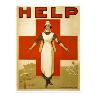 Red Cross Nurse Help Advertisement World War 2 Post Card