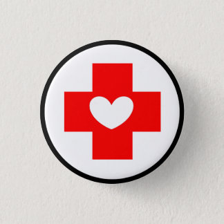 Red Cross Nurse Symbol Button with White Heart