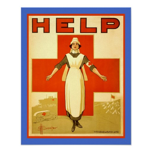 Red Cross Nurse Vintage World War 1 Canvas Poster