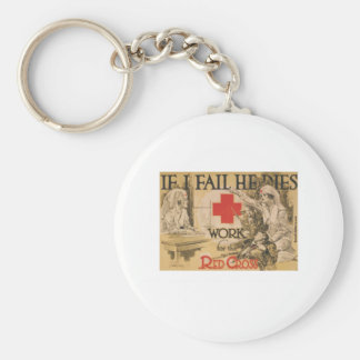 Red Cross Poster - If I Fail He Dies Keychain