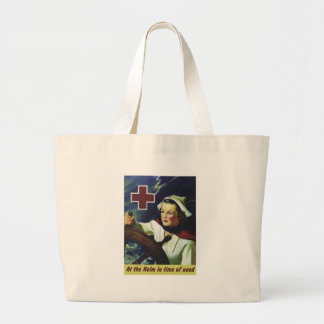 Red Cross Poster - Nurse at the Helm Canvas Bags