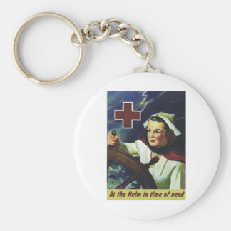 Red Cross Poster - Nurse at the Helm Keychain