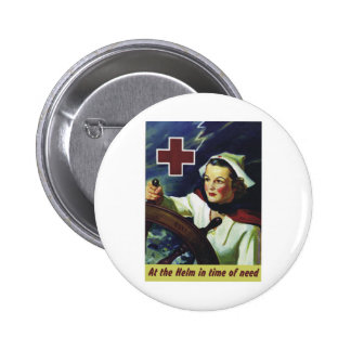 Red Cross Poster - Nurse at the Helm Pinback Button