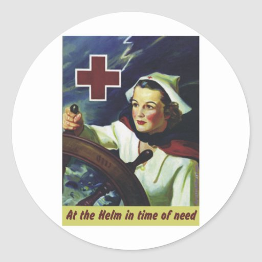 Red Cross Poster - Nurse at the Helm Classic Round Sticker