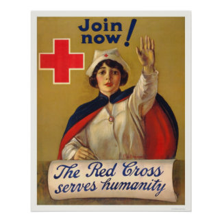 Red Cross serves humanity - Join now Poster