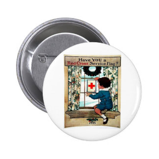 Red Cross Serviceflag Pinback Button
