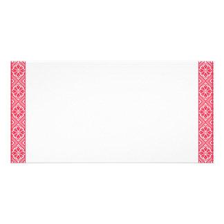Red cross-stitch Pattern Card