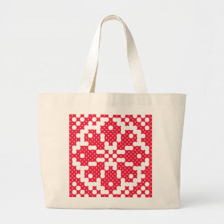 Red cross-stitch Pattern Large Tote Bag