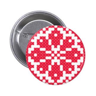 Red cross-stitch Pattern Pinback Button