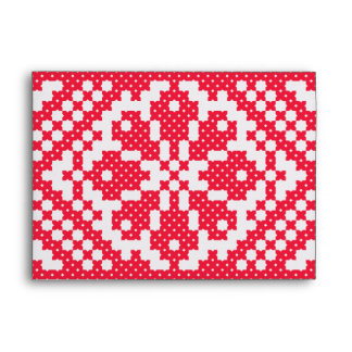 Red cross-stitch Russian Pattern Envelope
