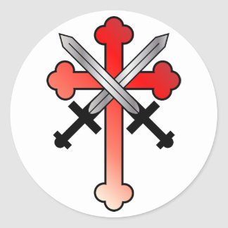 Red Cross with Crossed Swords Classic Round Sticker