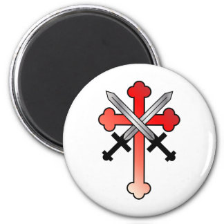 Red Cross with Crossed Swords Magnet