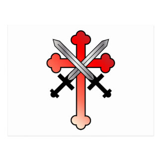 Red Cross with Crossed Swords Postcard