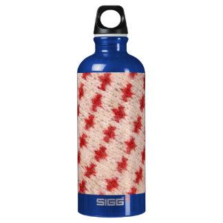 Red Cross Wool Sweater Fabric Print - Water Bottle