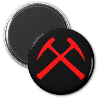 Red Crossed Rock Hammers Magnet