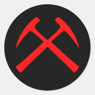 Red Crossed Rock Hammers Sticker