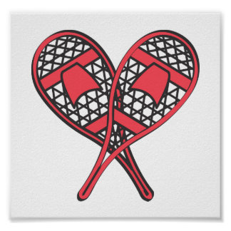 Red Crossed Snowshoes Posters