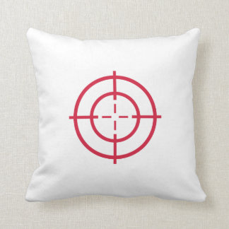 Red crosshairs throw pillow