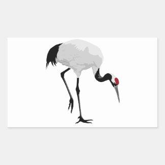 Red-Crowned Crane (a.k.a. Japanese Crane) Rectangular Sticker