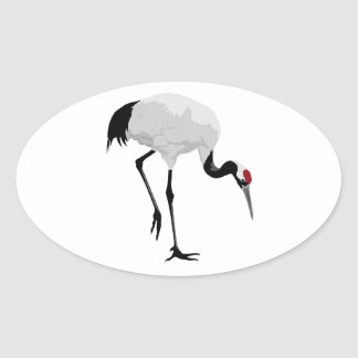 Red-Crowned Crane (a.k.a. Japanese Crane) Oval Stickers