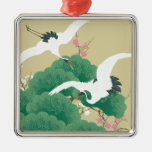 red-crowned crane adorno navideño cuadrado de metal