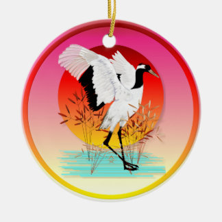 Red Crowned Crane and Setting Sun  Ornaments