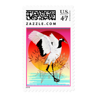 Red Crowned Crane and Setting Sun Postage