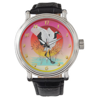 Red Crowned Crane and Setting Sun Wrist Watch