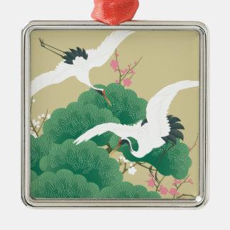 red-crowned crane metal ornament