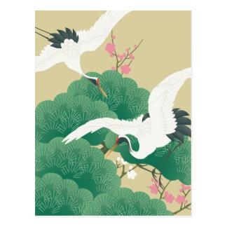 red-crowned crane postcard