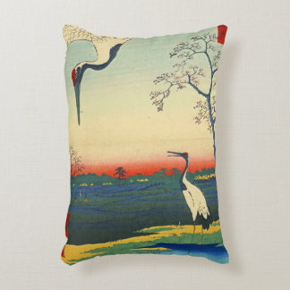 Red Crowned Cranes 1857 Accent Pillow