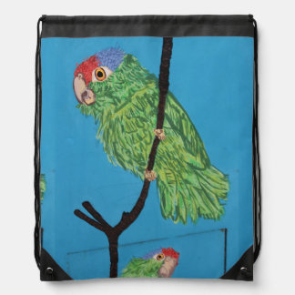 red-crowned green parrot drawstring backpack