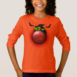 Red Crystal Ball Witch and Bats T-Shirt