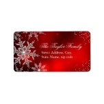 """Red Crystal Snowflake Christmas Address Labels<br><div class=""""desc"""">Red Christmas Address Labels. Elegant Crystal Snowflakes. Please Note: All flat images!</div>"""
