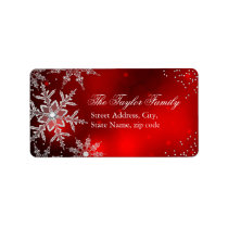 Red Crystal Snowflake Christmas Address Labels