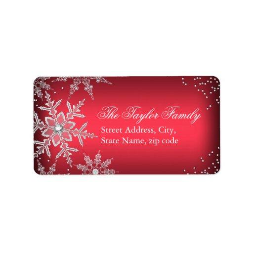 Red Crystal Snowflake Christmas Address...