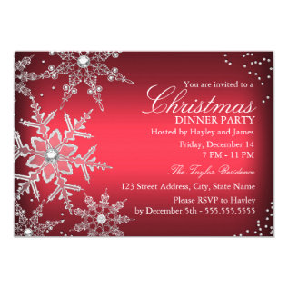 Red Crystal Snowflake Christmas Dinner Party Card at Zazzle