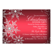 Red Crystal Snowflake Christmas Dinner Party Invitation