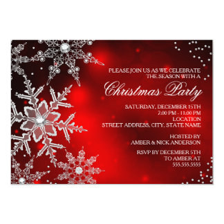 """Red Crystal Snowflake Christmas Dinner Party 5"""" X 7"""" Invitation Card"""