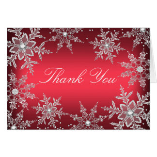 Red Crystal Snowflake Christmas Thank You Card