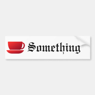 Red Cup and Saucer Car Bumper Sticker